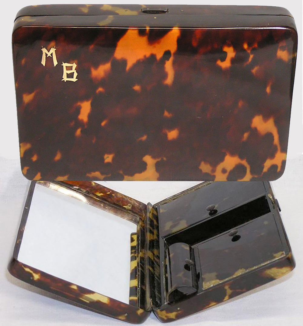 Antique Tortoise Shell Minaudiére, Purse, LARGE! Tortoiseshell Bag, Makeup Compact, Vanity