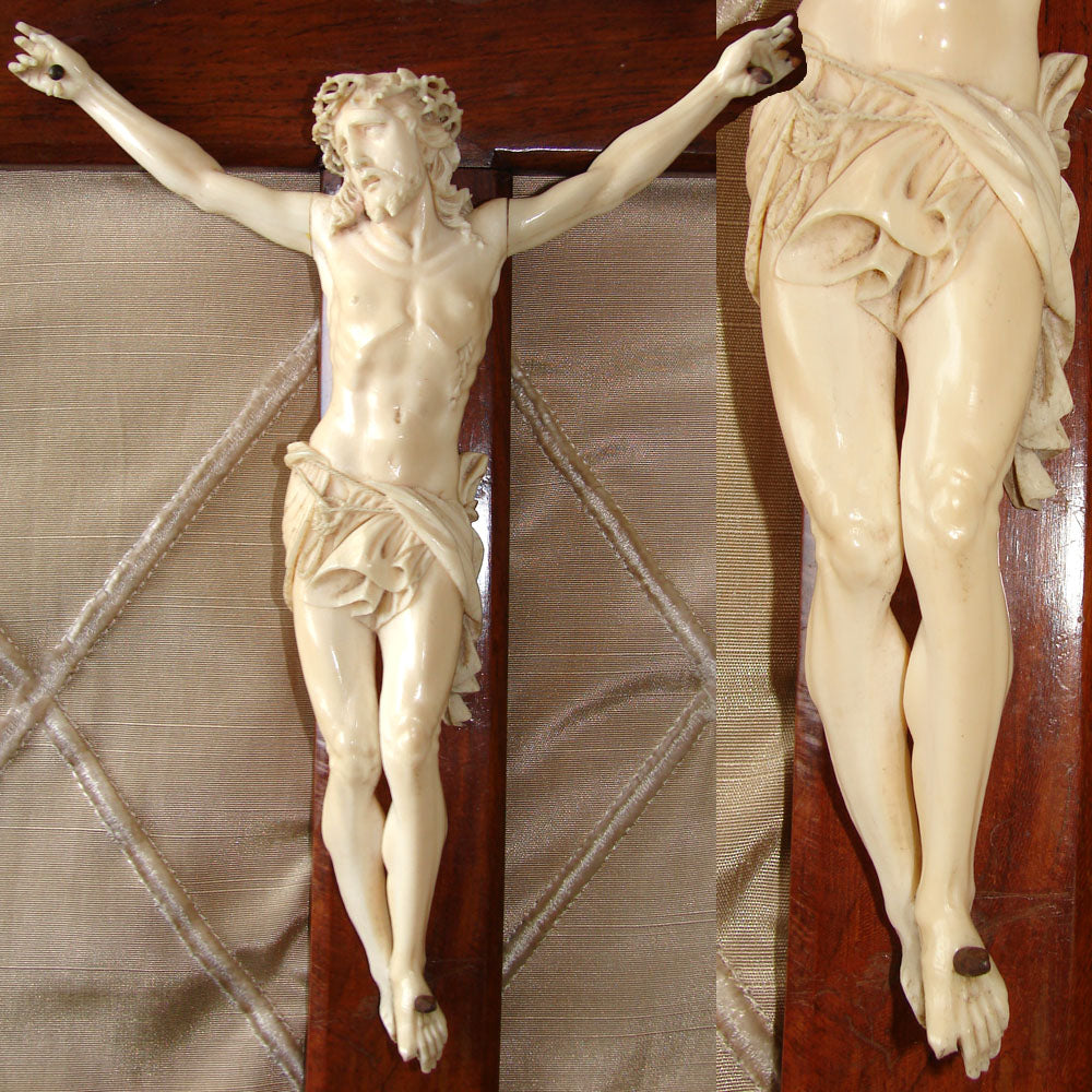 "Antique French Dieppe Carved 8"" Christ Figure or Sculpture, Displayed on a 13"" Rosewood Cross"