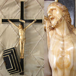 "Rare Antique Dieppe Carved Christ Figure, Sculpture, Altar Style 20.5"" Cross"
