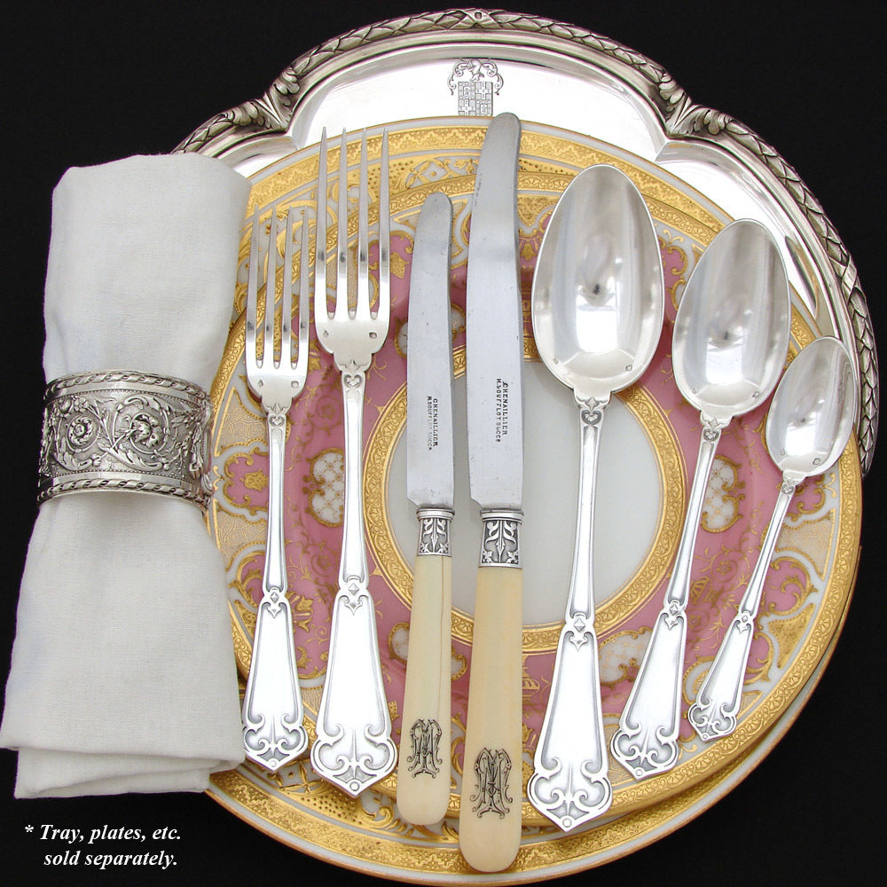 Exq Antique French Sterling Silver 90pc+ Flatware Set, Gothic Pattern, in Chest, Knives bring total set to 126pc Soufflot