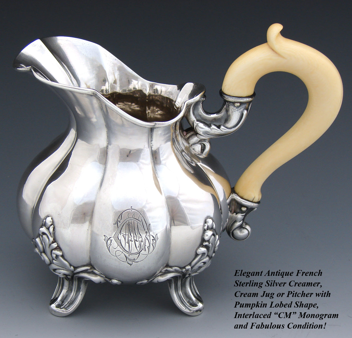 Antique French Sterling Silver Aesthetic Style Creamer or Cream Jug, Pitcher, Lobed Shape