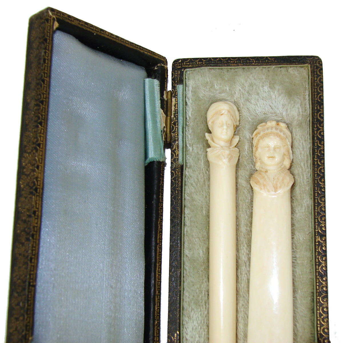 Antique French Dieppe Carved Ivory 2pc Writer's Set, Pen & Page Marker, Brittany Figural Busts
