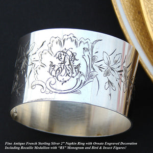 Charming Antique French Sterling Silver Napkin Ring, Engraved Flowers & Foliage, Bird & Insect