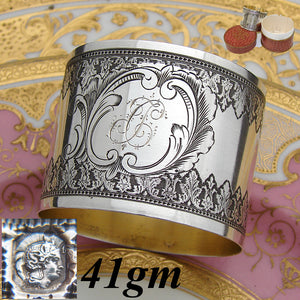 "Antique French Sterling Silver 2"" Napkin Ring, Ornate Machined Decoration, ""TC"" Monogram"