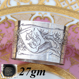 "Antique French .800 (nearly sterling) Silver 2"" Napkin Ring, Flowers & Foliage"