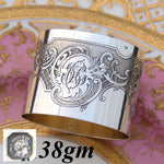 Gorgeous Antique French Sterling Silver Napkin Ring, Louis XV or Rococo Style