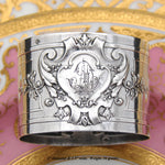 "Elegant Antique French Empire Style Sterling Silver 2"" Napkin Ring, AD Monogram"