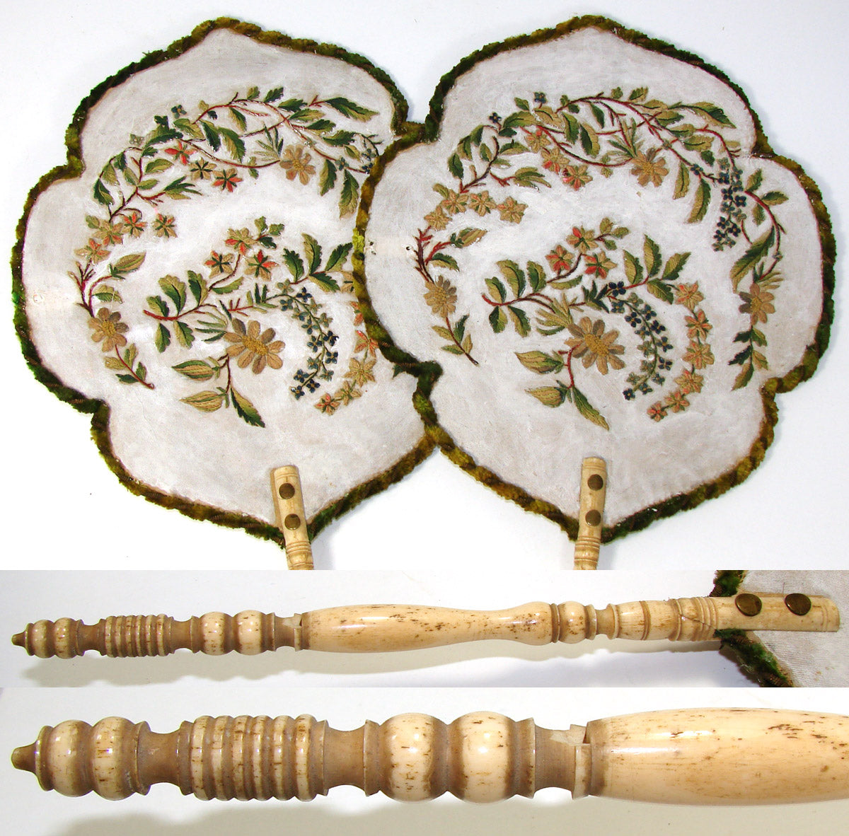 Antique Victorian Era Face Screen PAIR, Floral & Foliate Embroidery, Turned Handles