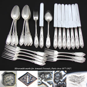 Exq Antique French Sterling Silver 24pc Dinner Sized Flatware Set, Gothic Pattern