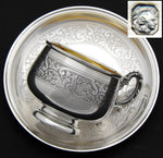 Antique French Sterling Silver Tea Cup & Saucer, Demitasse, Ornate Scrolling Pattern