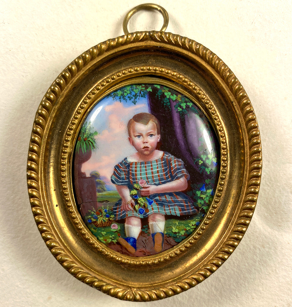 Antique French 18k Frame Kiln-fired Enamel Portrait Miniature of a Child, Young Boy, Baby