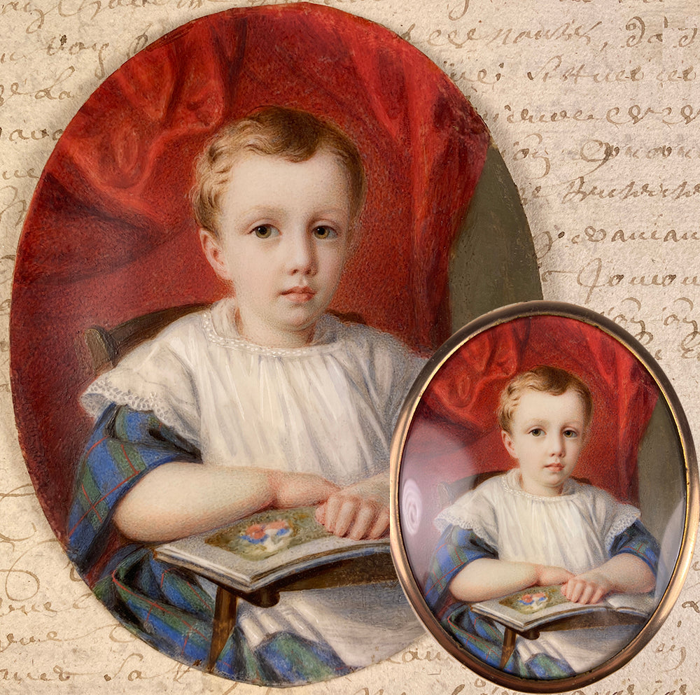 Antique French Portrait Miniature of a Beautiful Child, a Little Blond Blue-Eyed Boy Reading