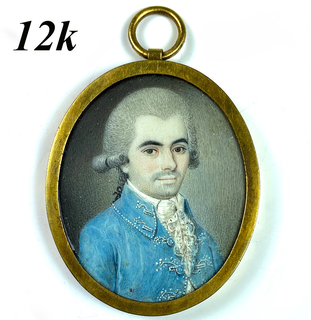 Rare Antique French Portrait Miniature, Handsome Man, c.1740s, in 12k Gold Pendant Locket, Hair Art