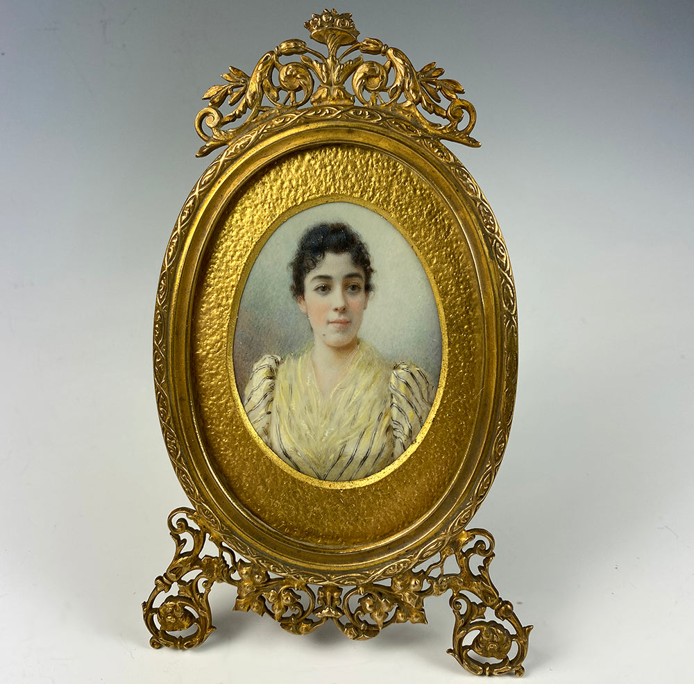 Antique French Portrait Miniature, signed, dated 1893, in Superb Dore Bronze Frame