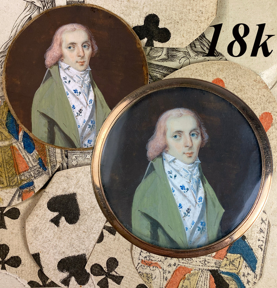 Rare 18k c.1795-99 Portrait Miniature, Incroyables Young Man Pink Hair, Luxuriants post French Revolution, Directoire