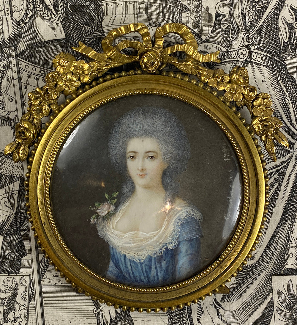 Antique French 18th c. Signed ID'd Portrait Miniature in Elaborate Bowtop Frame, Marquise Lafayette