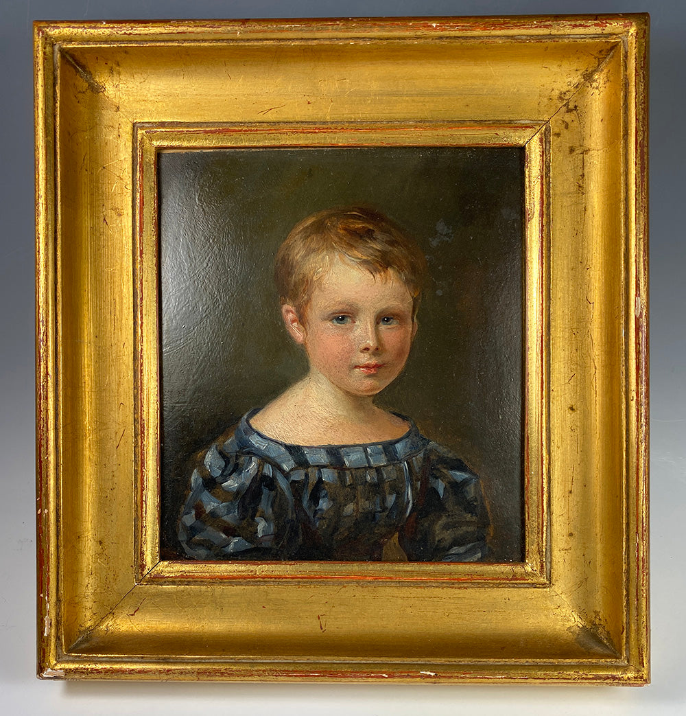 Antique Oil Painting, c.1830s Portrait Miniature of a Blond Blue Eyed Child of 4-5, A Boy, by Martin Disteli, Swiss Portraitist