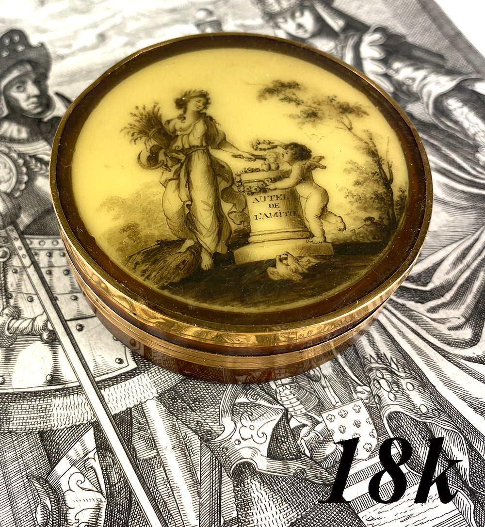 Antique c.1700s Blond Tortoise Shell, 18k Gold and Portrait Miniature Snuff Box, Psyche, Cupid