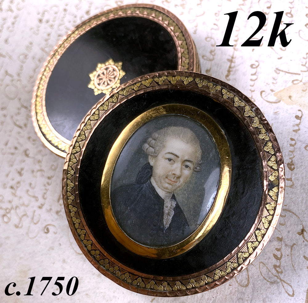 Antique c.1750 Portrait Miniature Snuff Box, 12k Yellow and Rose Gold on Tortoise Shell