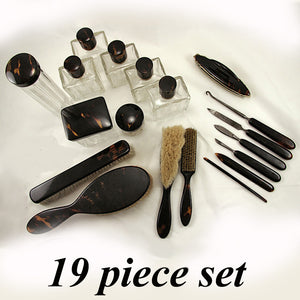 RARE 19 Piece Antique Tortoise Shell .950/1000 French Sterling Vanity Set - Tortoiseshell