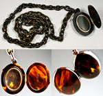 Victorian Mourning Locket, Tortoise Shell Double, RARE Big & Long Tortoiseshell Chain with 18K Gold Wire