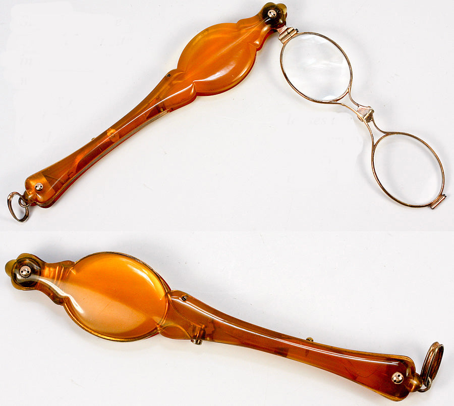 Antique French Blond Faux Tortoise Shell Lorgnette - 18k gold and silver 'vemeil, 1800s