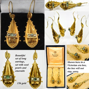 Antique Victorian 15K Gold, Tourmaline and Seed Pearl Earrings, Long Dangles, Etruscan Styling