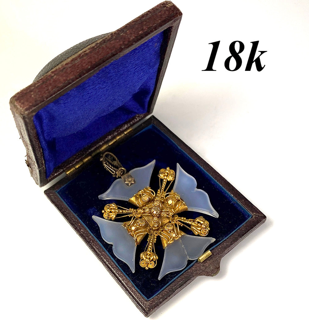 RARE! Antique 18k and Opaline Maltese Cross Pendant, in box, c.1780-1810 Cannetille, Hair Memento Locket