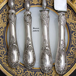 Antique French PUIFORCAT 'Louis XV' Pattern Sterling Silver 4pc Serving Utensil Set: Meat Carving & Salad Implements