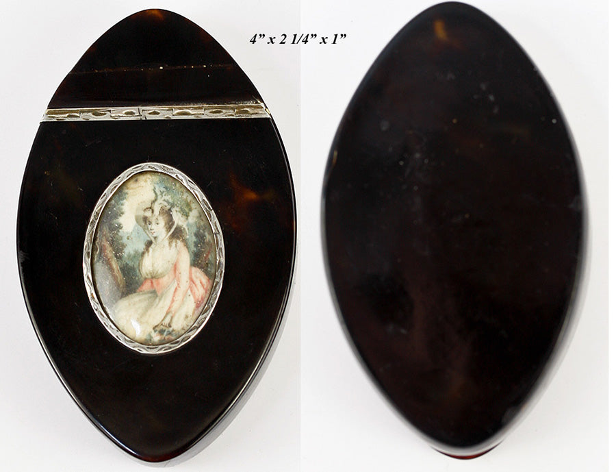 "Antique c.1780-1820 French Snuff Box, Portrait Miniature on 4"" Long Navette of Tortoise Shell"