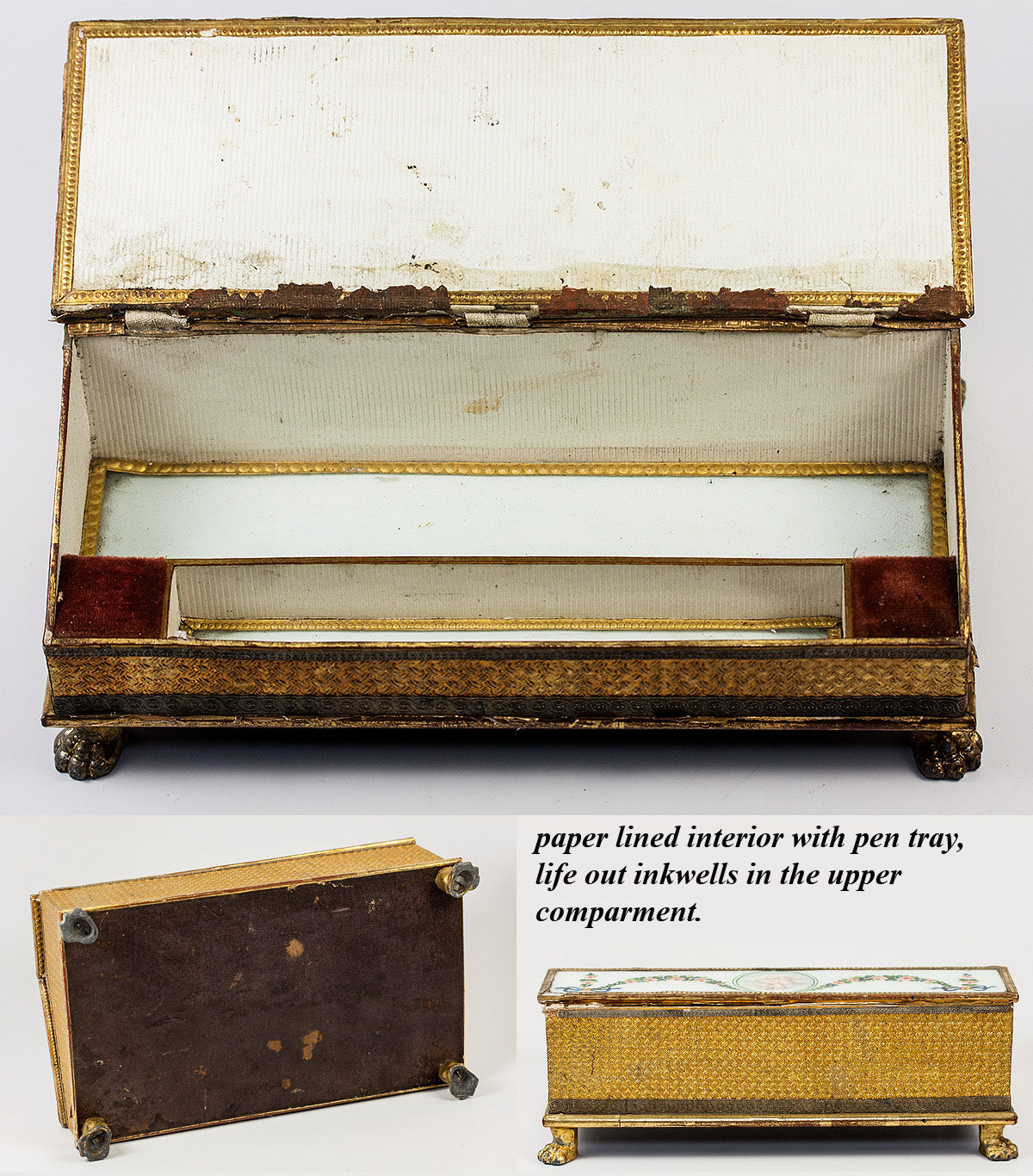 RARE Antique c.1700s French Eglomise Writer's Box, Double Inkwell, Chocolatier's Box