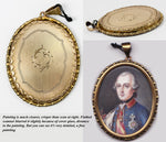 Antique French Portrait Miniature of a c.1700s Royal, Medal, Ermin, Pendant or Locket Frame