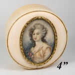 "Antique French Powder Box, Ivory Table Snuff, 4"" w Signed Portrait Miniature"