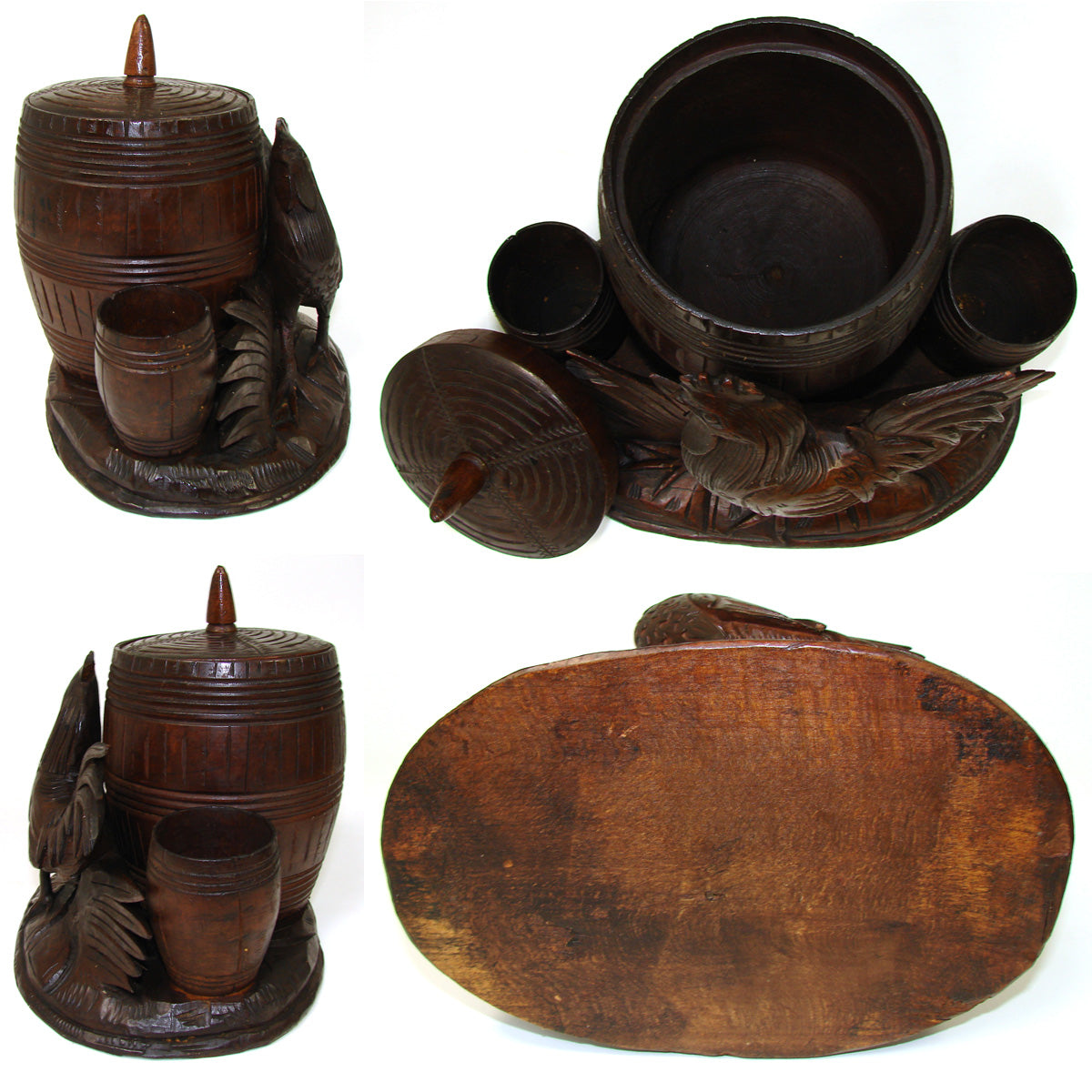 Antique Black Forest Carved Smoker's Stand, Tobacco & Match Barrels, Cock or Rooster Figure
