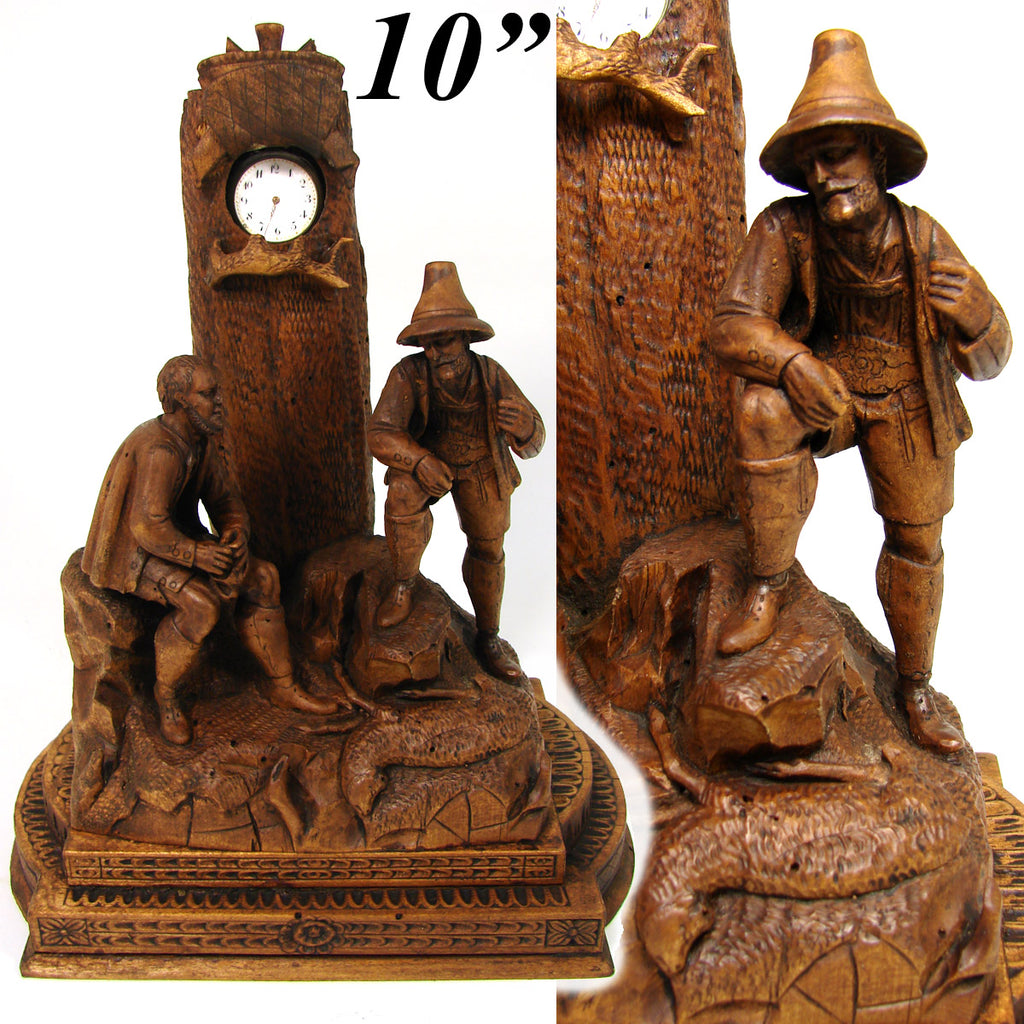 "Antique Black Forest Carved 10"" Pocket Watch Display, Hunt or Pastoral, Two Gents & Lamb"