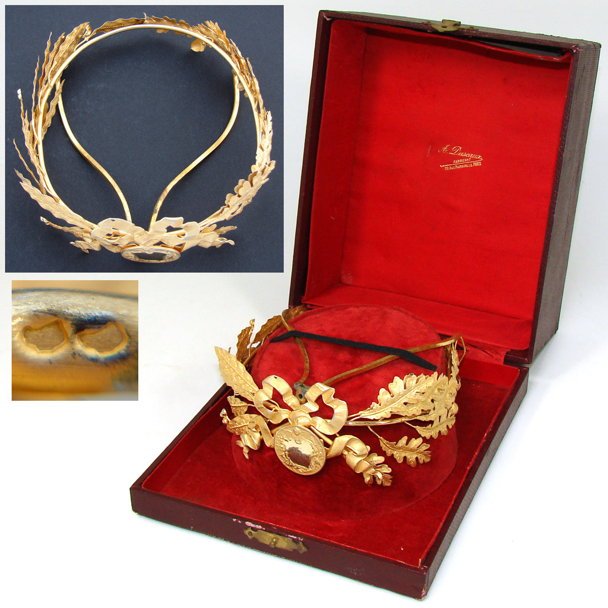 Antique French 18k Gold on Silver Vermeil Tiara, Crown or Diadem Award, Orig. Box