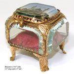 "Antique French Grand Tour Eglomise Beveled Glass Souvenir Casket, Box, ""Trocadero"""