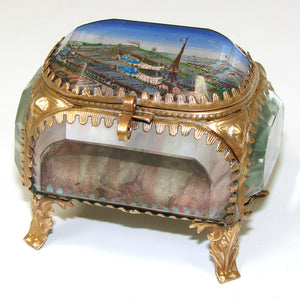 Antique French Grand Tour Eglomise Souvenir Casket, Box, 1900 World Expo, Eiffel Tower