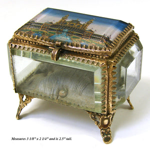 Antique French Eglomise Souvenir Casket, Box, Trocadero from 1867 World's Fair