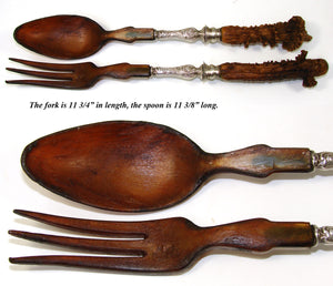 "Antique 11.5"" Salad Serving Set, Black Forest Style Carved Antler Handles, Gent & Dog"