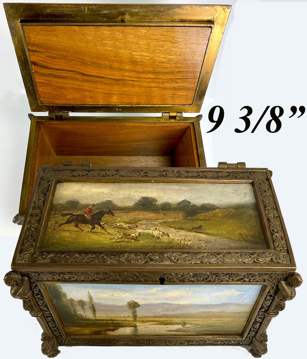 Antique French 19th c. Neo-Gothic Cigar Box, Chest, Humidor, 5 Hunt Theme Oil Paintings