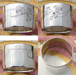 "Antique French Sterling Silver 2"" Napkin Ring, Engraved Flowers or Clovers, CD Monogram"
