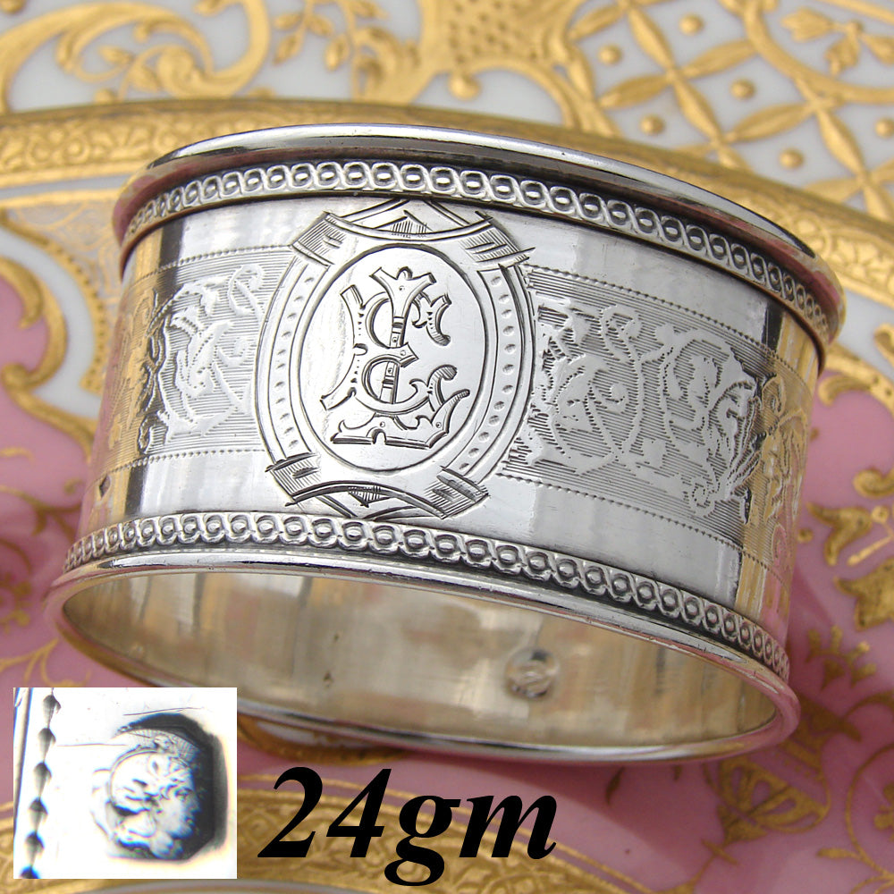 "Antique French Sterling Silver 2"" Napkin Ring, Frieze Style Foliate Band, EL Monogram"
