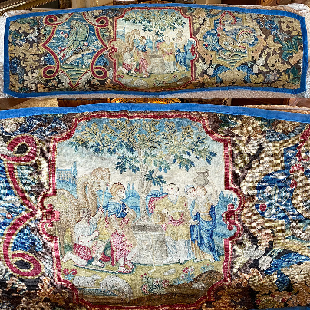 "RARE 74"" x 27"" Antique French Louis XIV Needlework Point de Saint-Cyr Needlework Tapestry, Parrot, Cock, Camels, Figural, Needlepoint Wall Hanging, Pillows?"