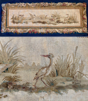 "Antique French 65"" x 27"" Tapestry, Aubusson or Beauvais, Dog and Waterfowl, Opulent Border, c.1770-1830"