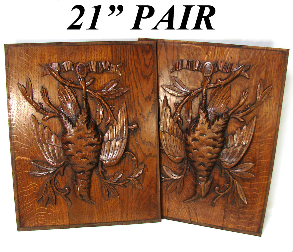 Antique Victorian Black Forest Style Carved Oak Salvage Panel PAIR, Hunt Bird or Grouse Figures