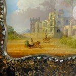 "Antique English Victorian  Papier Mache Frame, Elaborate Eglomise of a Castle and Carriage, 12.5"" x 10"""