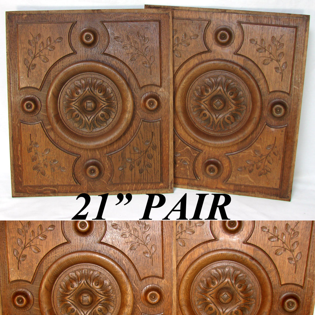 Antique Victorian Carved Oak Furniture or Cabinet Door Panel PAIR, Architectural Salvage