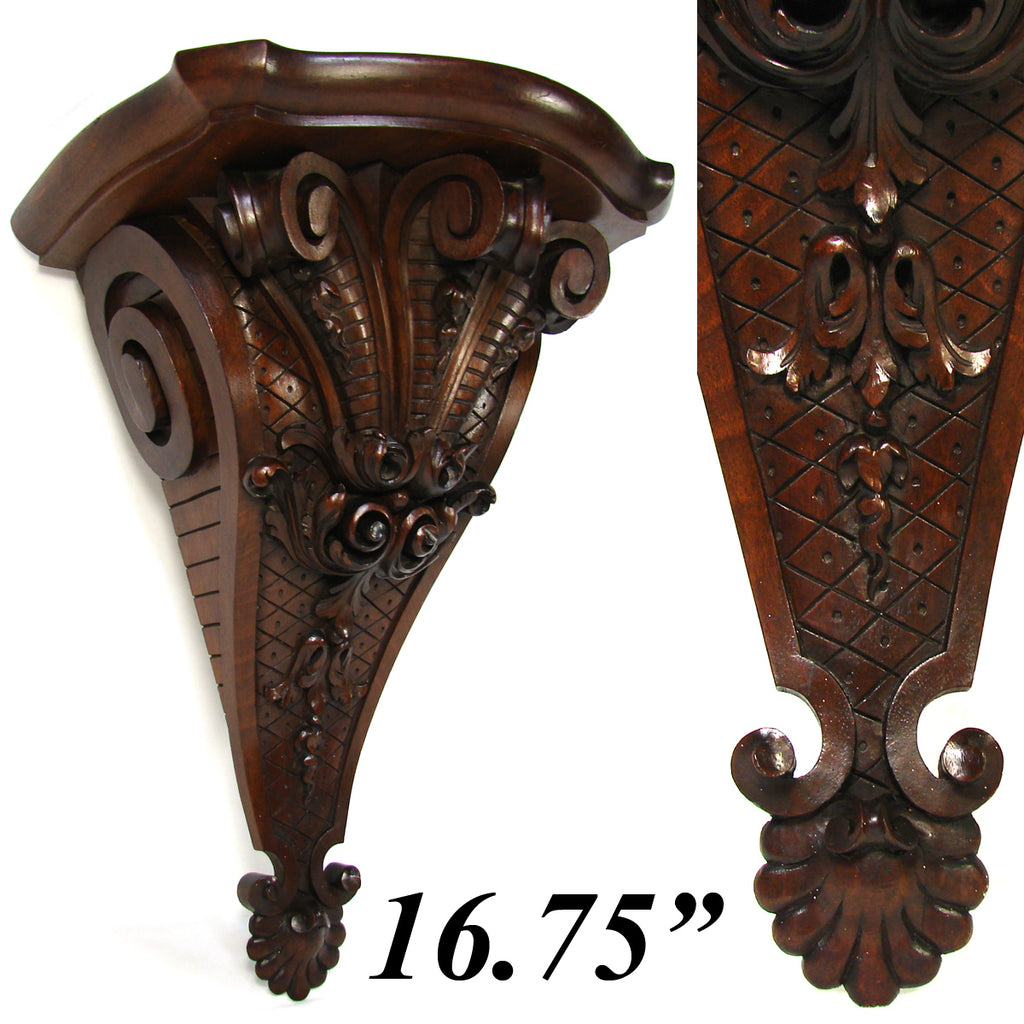 Gorgeous Antique French Carved Solid Walnut Wall, Clock or Bracket Shelf, Scrolled Acanthus
