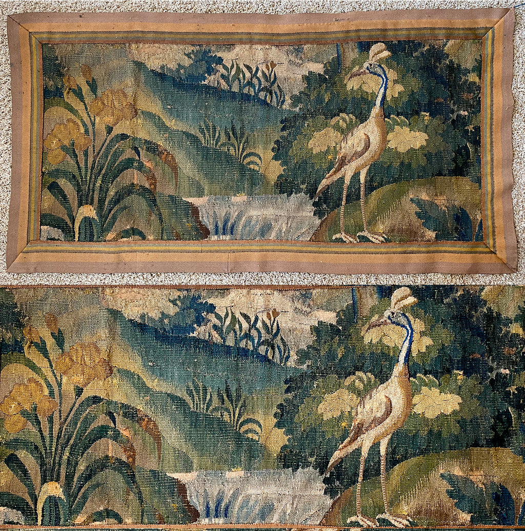 Fine c.1600s Antique Flemish Wool Verdure Tapestry Wall Hanging, Exotic Crane, Waterfall, Florals